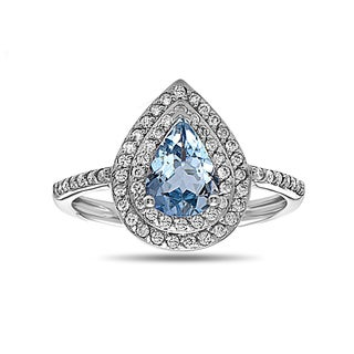 14k White Gold Aquamarine and 1/3ct TDW Diamond Cocktail Cluster Ring (H-I, SI1-SI2)