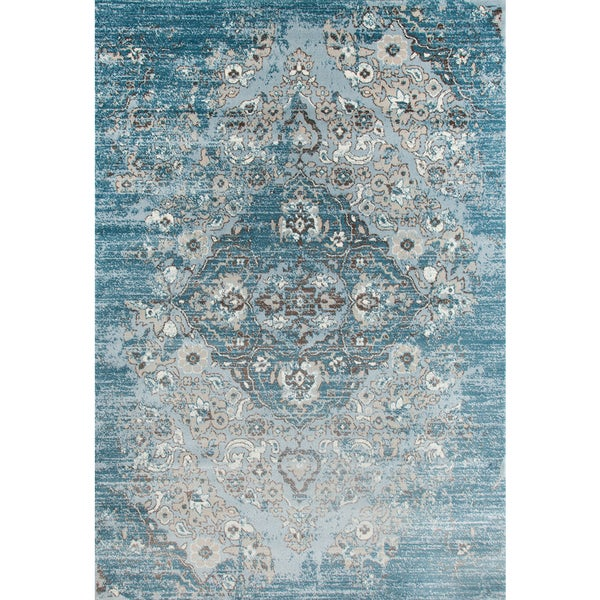 Relatively Persian Rugs Blue/Beige Vintage-style Area Rug (8'7 x 12'6) - 8'7  NK46