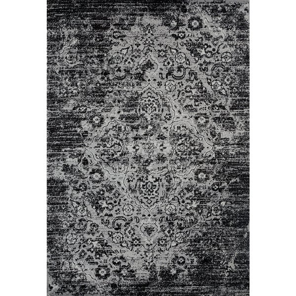 Persian Rugs Vintage Antique Designed Black and Grey Tones Area Rug - 5'2 x 7'2