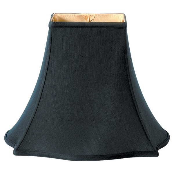 Royal Designs Fancy Square Bell Lamp Shade, Black, 7 x 16 x 12.75
