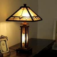 Chloe Tiffany Style Mission Design Double Lit 2+1-light Dark Walnut Table Lamp