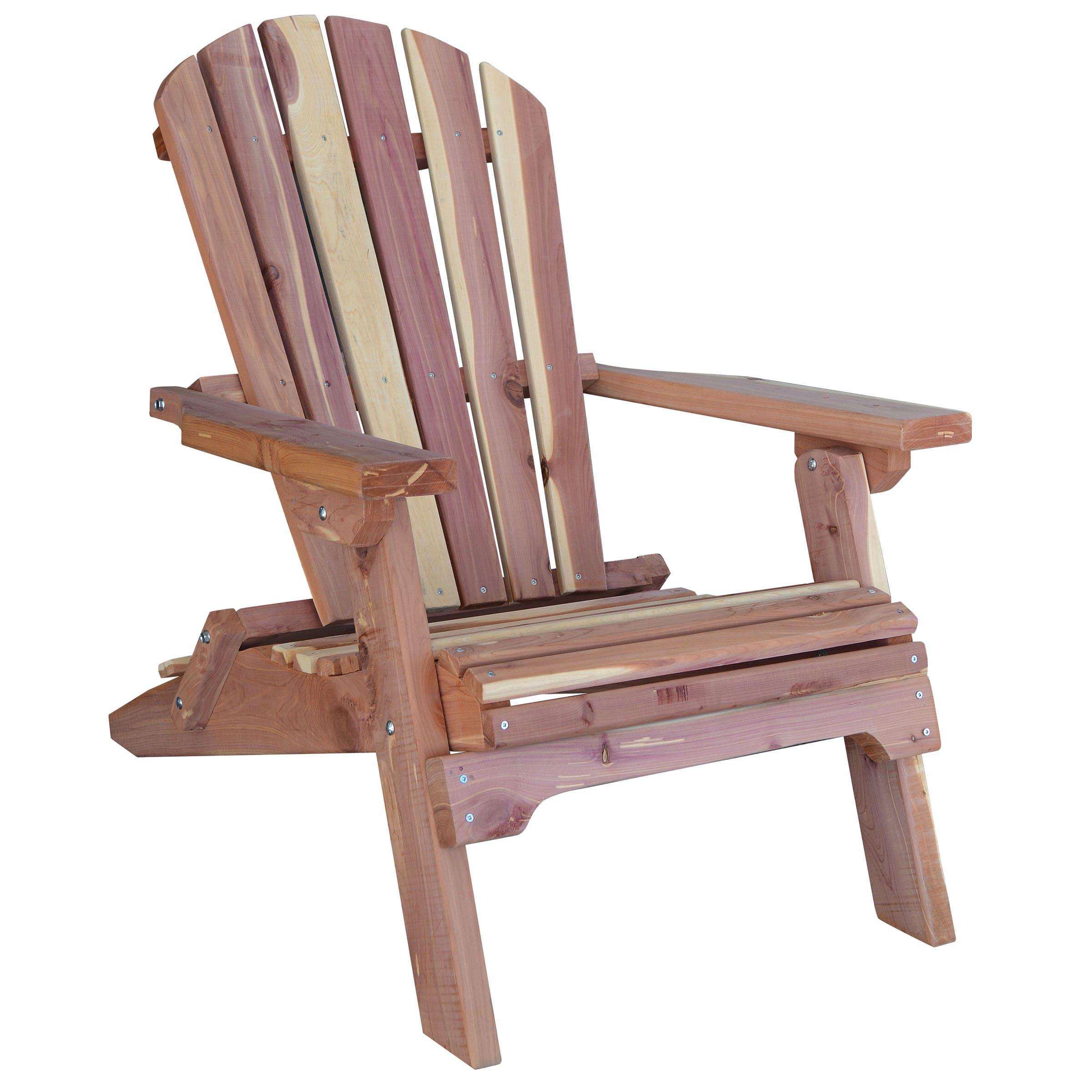 AmeriHome Amish Made Folding Adirondack Chair, Brown, Siz...