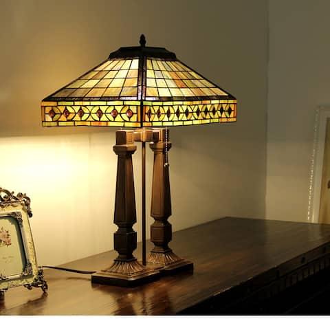 Tiffany Style Mission Design 2-light Dark Bronze Table Lamp
