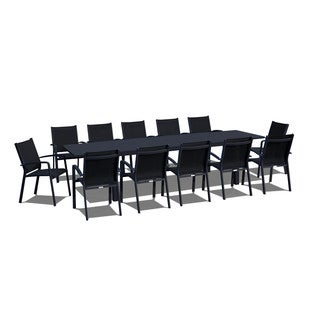 Urban Furnishing - 13 Piece Extendable Modern Outdoor Patio Dining Set - Black on Black