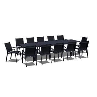 Urban Furnishing 13 Piece Extendable Modern Outdoor Patio Dining Set Black On