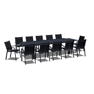 Urban Furnishing   13 Piece Extendable Modern Outdoor Patio Dining Set    Black On Black