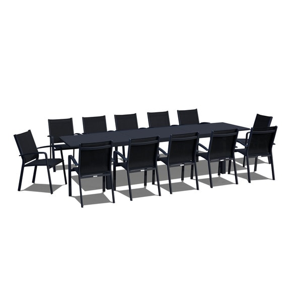 furnishing 13 extendable modern outdoor patio dining set black on black free