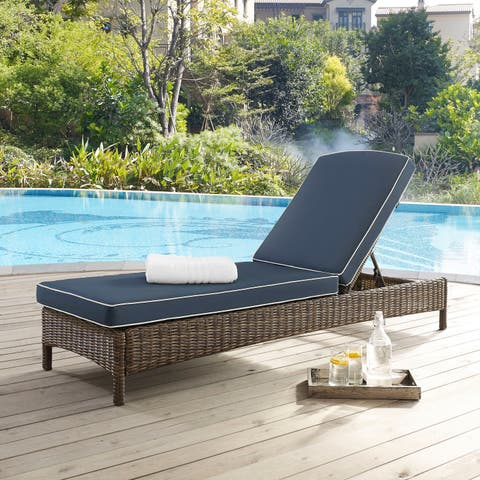 Bradenton Outdoor Wicker Chaise Lounge with Navy Cushions