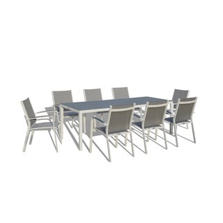 Urban Furnishing - 9 Piece Modern Outdoor Patio Dining Set - White / Gray