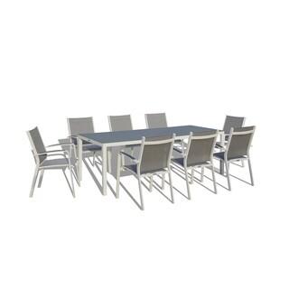 Urban Furnishing - 9 Piece Modern Outdoor Patio Dining Set - White / Gray