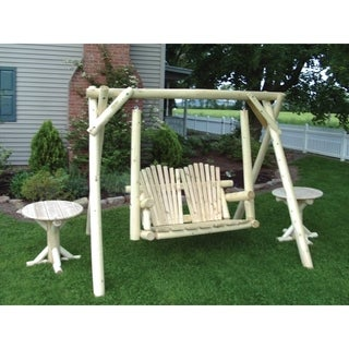 Rustic White Cedar Log Swing and A-Frame -Amish Made in the USA