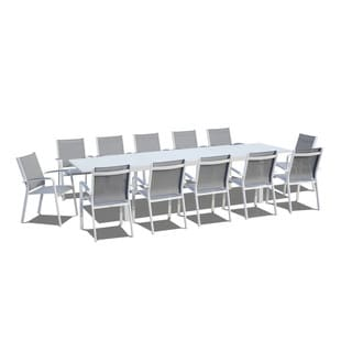 Urban Furnishing - 13 Piece Extendable Modern Outdoor Patio Dining Set - White