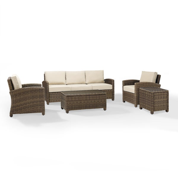 Bradenton 5 Piece Outdoor Wicker Set With Sand Cushions Sofa Two Arm Chairs