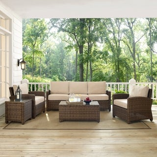 Bradenton 5-Piece Outdoor Wicker Set with Sand Cushions - Sofa, Two Arm Chairs, Side Table & Glass Top Table