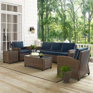 Bradenton 5-Piece Outdoor Wicker Set with Navy Cushions - Sofa, Two Arm Chairs, Side Table & Glass Top Table