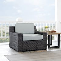 Beaufort Outdoor Espresso All-Weather Wicker Arm Chair with Mist Cushions