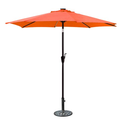 Jeco 9' LED Brown Aluminum Umbrella, Base Not Included