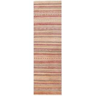 Herat Oriental Afghan Hand-knotted Vegetable Dye Gabbeh Wool Runner (2'9 x 9'6)
