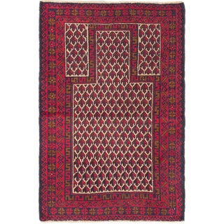 ecarpetgallery Royal Baluch Blue/Red Wool Handknotted Rug
