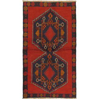 ecarpetgallery Kazak Red Wool Hand-knotted Rug (3'7 x 6'4)
