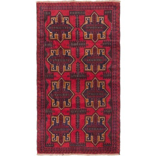 eCarpetGallery Hand-knotted Bahor Red Wool Rug (3'7 x 6'4)