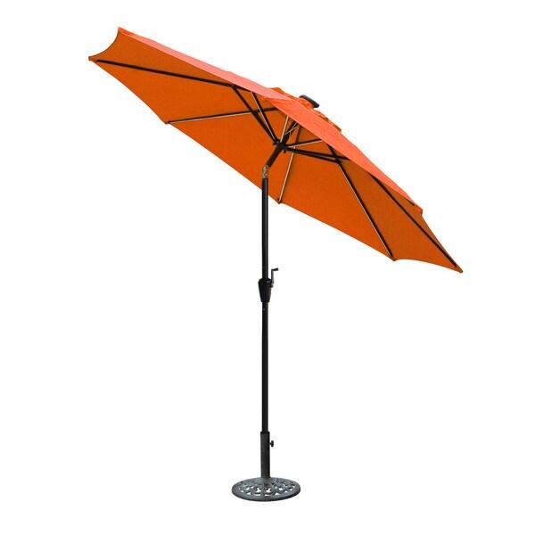 Sorbus Led Outdoor Umbrella: Jeco Aluminum 9-foot Umbrella With Crank And Solar Guide