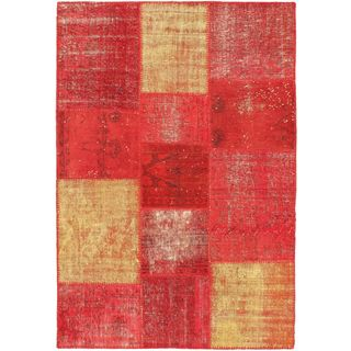 eCarpetGallery Red Wool/Cotton Handmade Ottoman Yama Patchwork Rug (4'7 x 6'6)