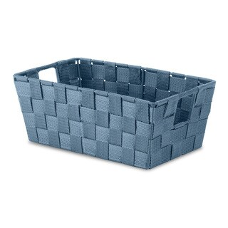 Whitmor Blue Fabric/ Steel Small Woven Shelf Tote