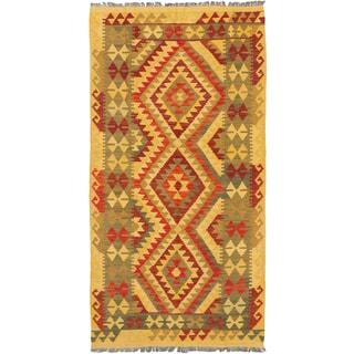 eCarpetGallery Anatolian Orange/Yellow Wool Hand-knotted Woven Kilim (3'5 x 6'7)