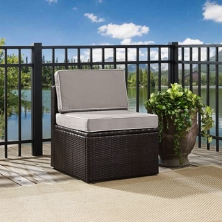 PALM HARBOR OUTDOOR WICKER CENTER CHAIR IN BROWN WITH GREY CUSHIONS