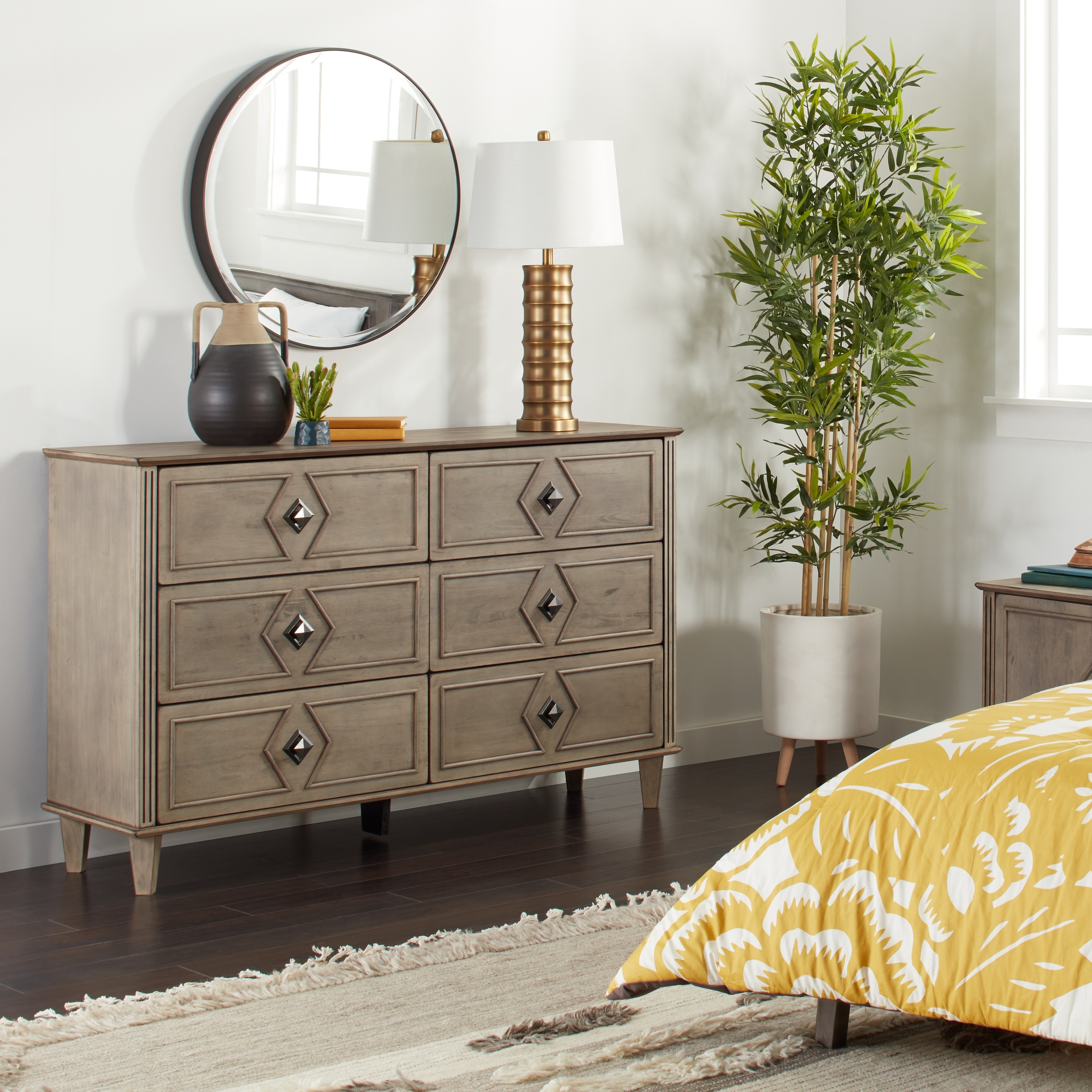 Grey Weathered 6 Drawer Dresser Free Shipping On Orders Over 45 9999980005486