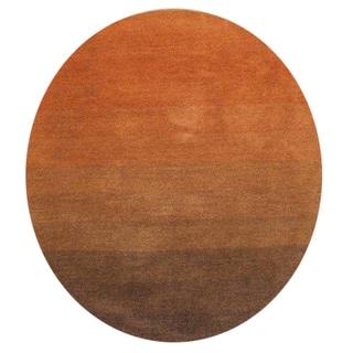 Alliyah Handmade New Zealand Blend Wool Contemporary Orange Abstract Rug ( 6' x 6' )