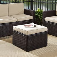 Palm Harbor Outdoor Wicker Ottoman in Brown with Sand Cushions