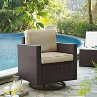 Palm Harbor Outdoor Wicker Swivel Rrocker Chair With Sand Cushions