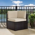 Palm Harbor Outdoor Wicker Corner Chair in Brown with Sand Cushions