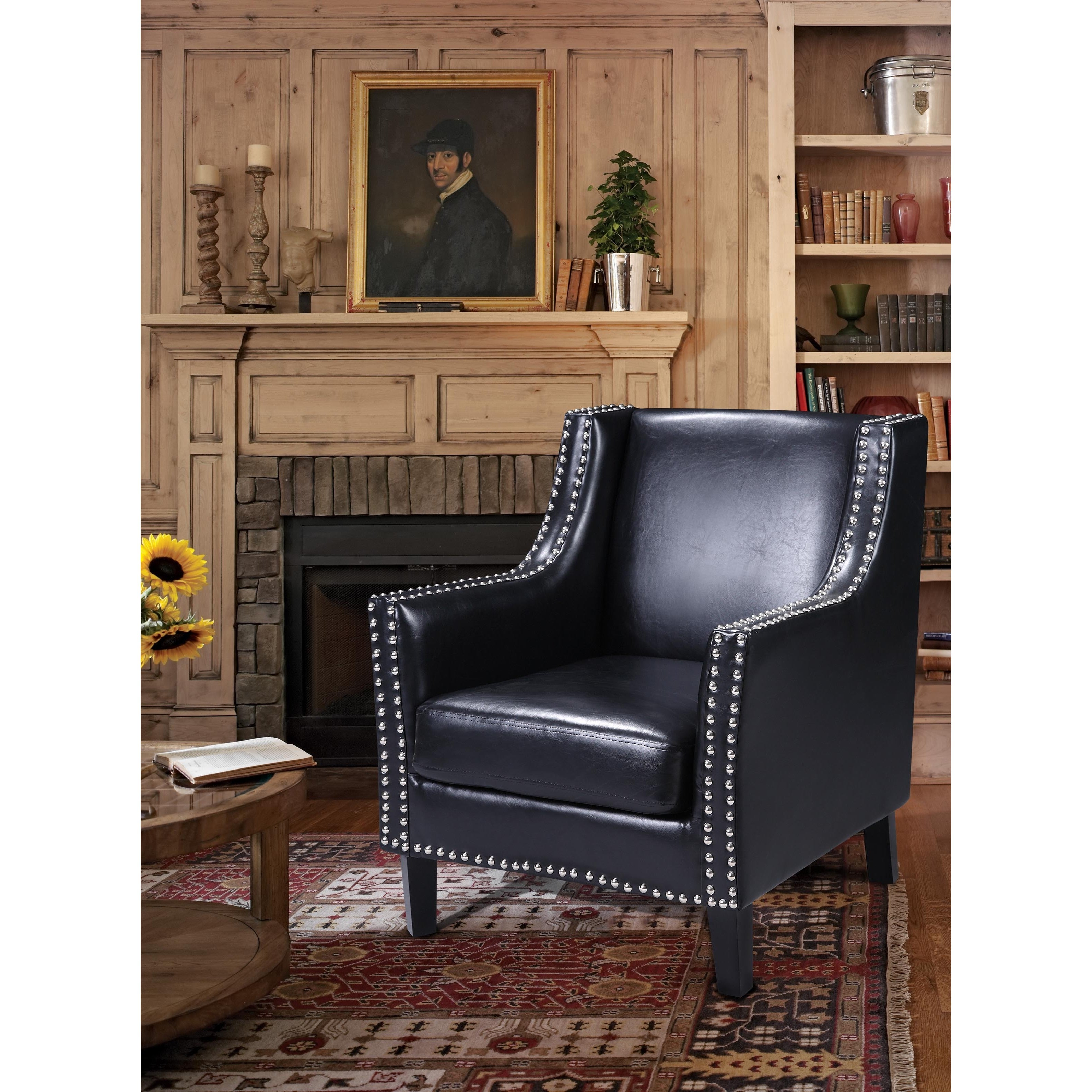 Picture of: Best Master Furniture Nailhead Faux Leather Arm Chair Overstock 14788619