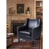 Best Master Furniture Nailhead Faux Leather Arm Chair