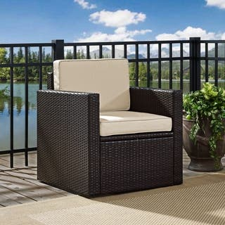 Palm Harbor Outdoor Wicker Arm Chair In Brown With Sand Cushions
