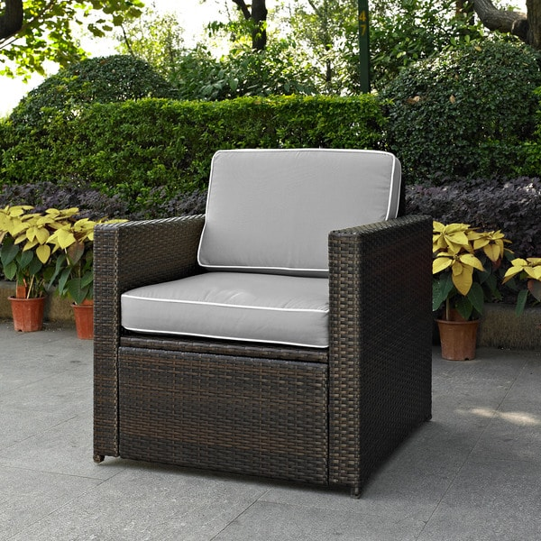 Palm Harbor Outdoor Wicker Arm Chair In Brown With Grey Cushions Free Shipping Today 14788651