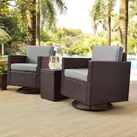 Palm Harbor 3 Piece Wicker Conversation Set With Gray Cushions -- Two Swivel Chairs & Side Table