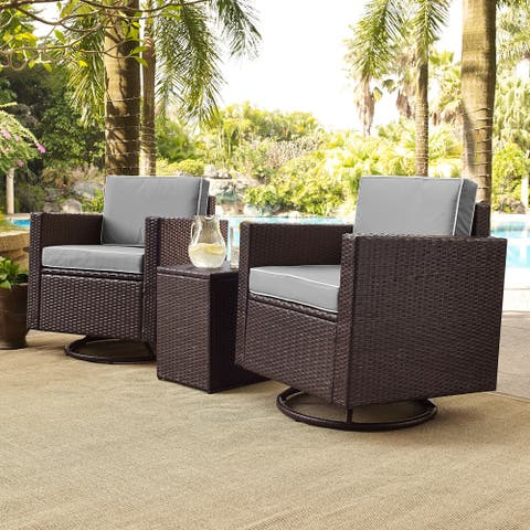 Palm Harbor 3 Piece Wicker Conversation Set With Gray Cushions
