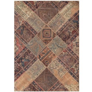Herat Oriental Pak Persian Hand-knotted Patchwork Wool Rug (5'6 x 7'9)