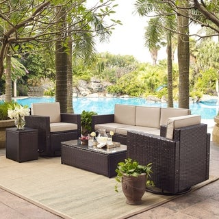 Palm Harbor 5 Piece Outdoor Wicker Sofa Conversation Set With Sand Cushions