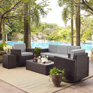 Palm Harbor 5 Piece Outdoor Wicker Sofa Conversation Set With Grey Cushions