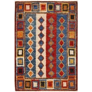Herat Oriental Afghan Hand-knotted Vegetable Dye Shag Gabbeh Wool Rug (4'11 x 7'2)