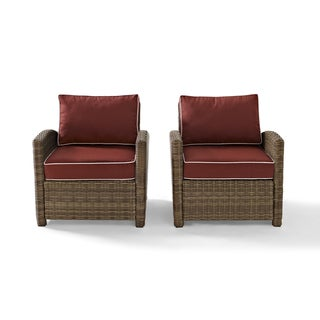 Bradenton Outdoor Wicker Arm Chairs with Sangria Cushions (Set of 2)