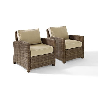 Bradenton Outdoor Wicker Arm Chairs With Sand Cushions (Set Of 2)