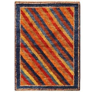 Herat Oriental Afghan Hand-knotted Vegetable Dye Shag Gabbeh Wool Rug (4'11 x 6'6)