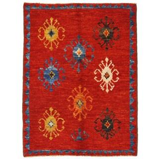 Herat Oriental Afghan Hand-knotted Vegetable Dye Gabbeh Wool Rug (4'10 x 6'8)