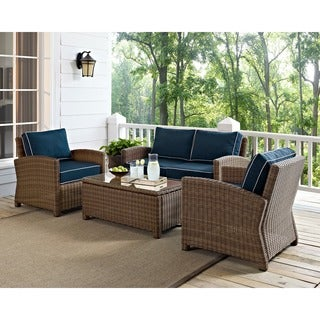 Bradenton Outdoor Wicker 4-Piece Seating Set with Navy Cushions